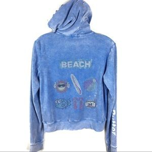 Butter Girl Blinged Terry Hooded Sweatshirt Large